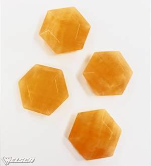 Feenstein Calcit orange Hexagon 30 mm
